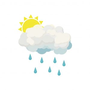 Rain cloud and sun icon